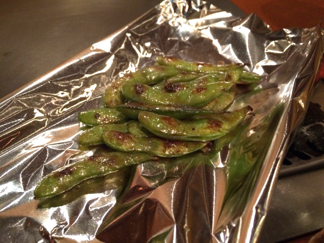 Amazing grilled Edamame with garlic oil!