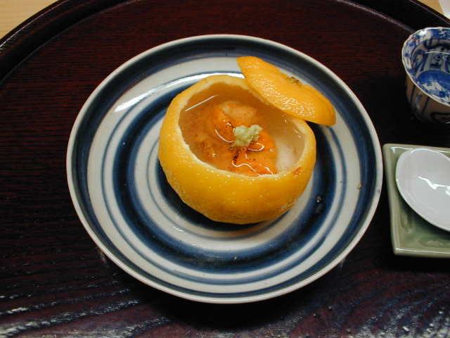 二品め うに ふぐの白子の柚子釜
